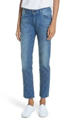 Brockenbow Cale Lily Studded Ankle Straight Leg Jeans