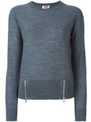 Sonia Rykiel By Zipped Studded Detailing Jumper Grey