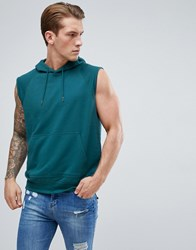 D Struct Sleeveless Hooded Sweat Green