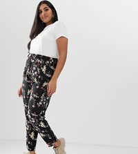 New Look Curve Floral Jogger In Black Pattern