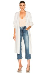 Ryan Roche Long Cardigan Jacket With Belt In White
