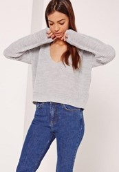Missguided V Neck Slouchy Cropped Jumper Grey