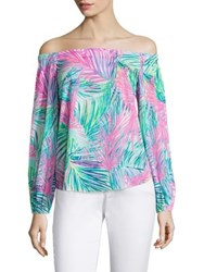 Lilly Pulitzer Adira Stretch Silk Off The Shoulder Blouse Multicolor