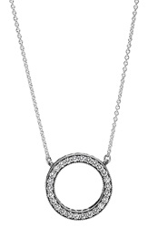 Pandora Design 'Hearts Of Pandora' Reversible Pendant Necklace Silver Clear