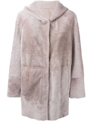 Drome Hooded Coat Pink And Purple