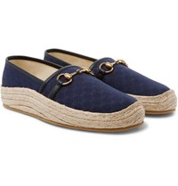 489f5f149 Mr Porter. Save. Gucci Horsebit Leather Trimmed Logo Jacquard Canvas Espadrilles  Navy