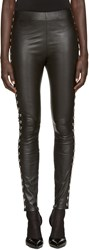 Saint Laurent Black Heart Stud Leather Leggings