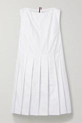 Thom Browne Pleated Cotton Oxford Dress White