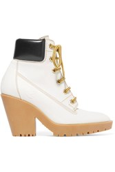 Maison Martin Margiela Leather Trimmed Nubuck Ankle Boots White