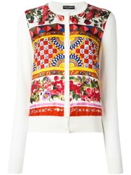 Dolce And Gabbana Mambo Print Cardigan Nude Neutrals