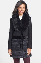 Women's Vera Wang Faux Fur Collar Mixed Media Coat