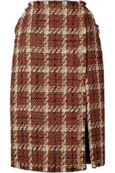 Versace Embellished Wool Blend Tweed Midi Skirt Brown