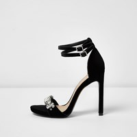 River Island Womens Black Velvet Embellished Barely There Heels