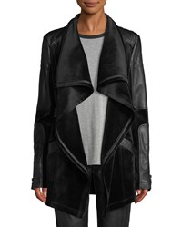 Blanc Noir Drape Velour And Faux Leather Belted Jacket Black