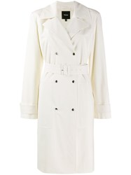 Theory Double Breasted Trench Coat Neutrals