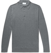 John Smedley Lanlay Slim Fit Cotton And Cashmere Blend Polo Shirt Gray