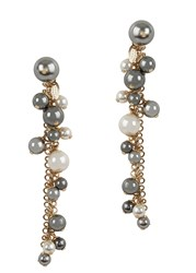 Lanvin Faux Pearl Gold Tone Earrings White And Grey