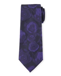 Flower Print Silk Tie Purple Davidoff
