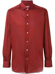 Kiton Checked Shirt Men Cotton 38 Red