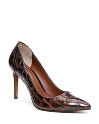 Donald J Pliner Presli Croc Embossed High Heel Pumps Brown