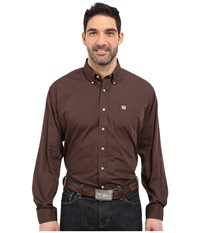 Cinch Long Sleeve Button Down Solid Brown Men's Long Sleeve Button Up