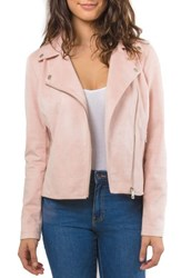 Bagatelle Faux Suede Biker Jacket Blush