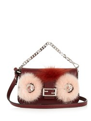 Fendi Micro Baguette Fur Embellished Cross Body Bag Burgundy Multi