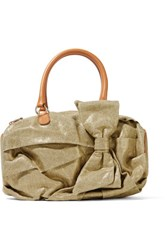 Red Valentino Redvalentino Leather Trimmed Metallic Canvas Shoulder Bag Gold