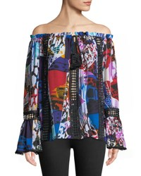 Alberto Makali Off The Shoulder Bell Cuff Preinted Blouse Multi
