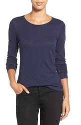 Caslonr Women's Caslon Long Sleeve Slub Knit Tee Navy Peacoat
