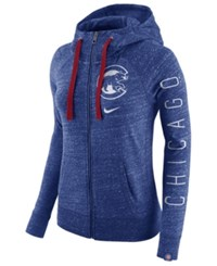 Nike Women's Chicago Cubs Gym Vintage Full Zip Hooded Sweatshirt Royalblue Heather