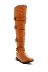 West Blvd Shoes Tehran Faux Leather Over The Knee Boot Brown