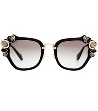 Miu Miu Embellished Sunglasses Black