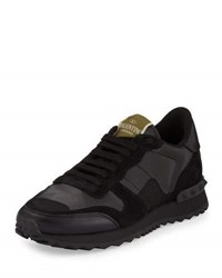 Valentino Camouflage Print Leather Sneaker Black