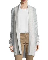Vince Colorblock Ribbed Cashmere Blend Cardigan H Cloud H Steel