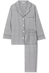 Sleepy Jones Marina Prince Of Wales Checked Cotton Pajama Set Gray