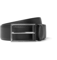Hugo Boss 3.5Cm Black Carmello Textured Leather Belt Black