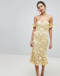 Jarlo All Over Cutwork Lace Bardot Midi Dress With Tie Sleeve Detail Yellow