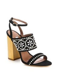 Tabitha Simmons Wooden Heeled Beaded Suede Sandals Black White