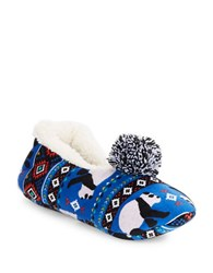 Kensie Sherpa Lined Panda Slippers Blue