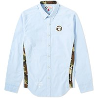 Aape By A Bathing Ape Embroidered Logo Oxford Shirt Blue