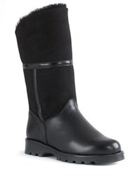 La Canadienne Kosmo Shearling Lined Suede And Leather Boots Black