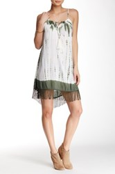 En Creme Sleeveless Printed Fringe Short Dress Multi