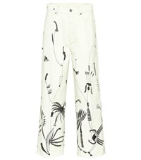 Dries Van Noten Printed Wide Leg Jeans White