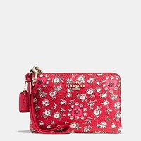 Coach Small Wristlet In Wild Hearts Print Coated Canvas Light Gold Wild Hearts Red Multi