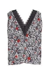 Zadig And Voltaire Printed Silk Tank With Lace Trim