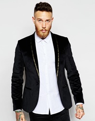 Noose And Monkey Velvet Blazer With Lapel Taping In Skinny Fit Blackgold