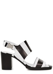 Miista Cora Monochrome Striped Leather Sandals Black And White