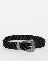 Asos Pu And Suedette Plaited Western Boyfriend Belt Black