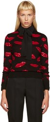 Saint Laurent Black And Red Lips Sweater